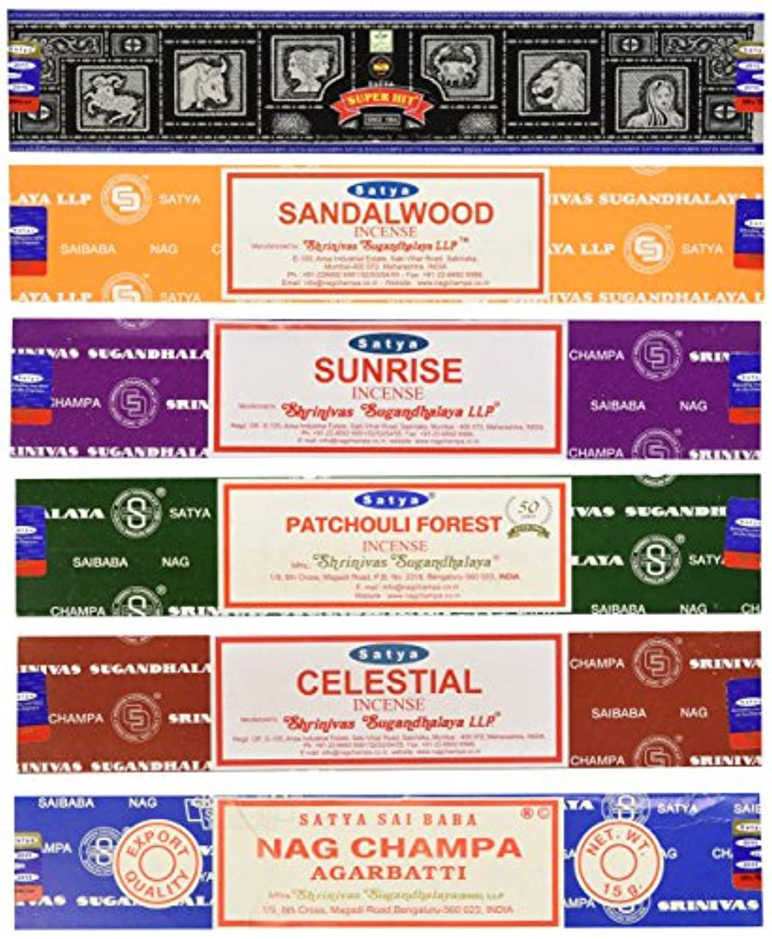 好奇心盛速度見習いSet of 6 Nag Champa Sunrise Sandalwood Patchouli Celestial Super Hit by Satya