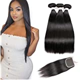 8A Brazilian Straight Hair 3 Bundles with Closure Silky Human Weave Hair Natural Black for Women Hair extensions(14 16 18 wit