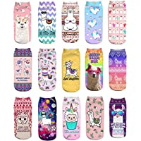 15 Pairs Llama Cute Ankle Socks for Girls Kids Funny Novelty Alpaca Low Cut No Show Invisible Short Thin Crew Socks