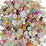 (Mix 100g) - Chenkou Craft Random 100g/lot (around 450pcs) 4-20mm Half Round Pearls Seastar Bow Rose Rhinestone Flat Back Pea