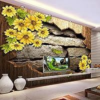 lhdlily 3dステレオレトロ菊レンガ壁壁画壁紙ベッドルームリビングルームホテルレストラン壁紙 LHDLily-561616981-17024