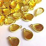 しずく型のレジンフレーム ミール皿ゴールド 10個 カン付きセッティング アクセサリーパーツ ハンドメイド 手芸材料