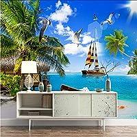 Ansyny カスタム壁画海景愛海ココナッツツリー風景モルディブテレビリビングルームの背景家の装飾3Dの壁紙-260X175CM