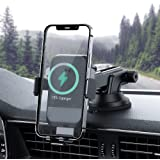 AHK Wireless Car Charger,10W Qi Fast Charging Auto-Clamping Car Mount,Windshield Dash Air Vent Phone Holder Compatible iPhone