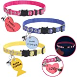 Breakaway Cat Collar with ID Tags Personalized - 3 Packs Reflective Pattern Collars with Wooden Handwriting Name Tags Adjusta