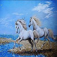 Xbwy 写真の壁紙3Dの壁紙川の白い馬の絵の背景の壁のロビーの壁紙カスタムリビングルームの壁画-250X175Cm