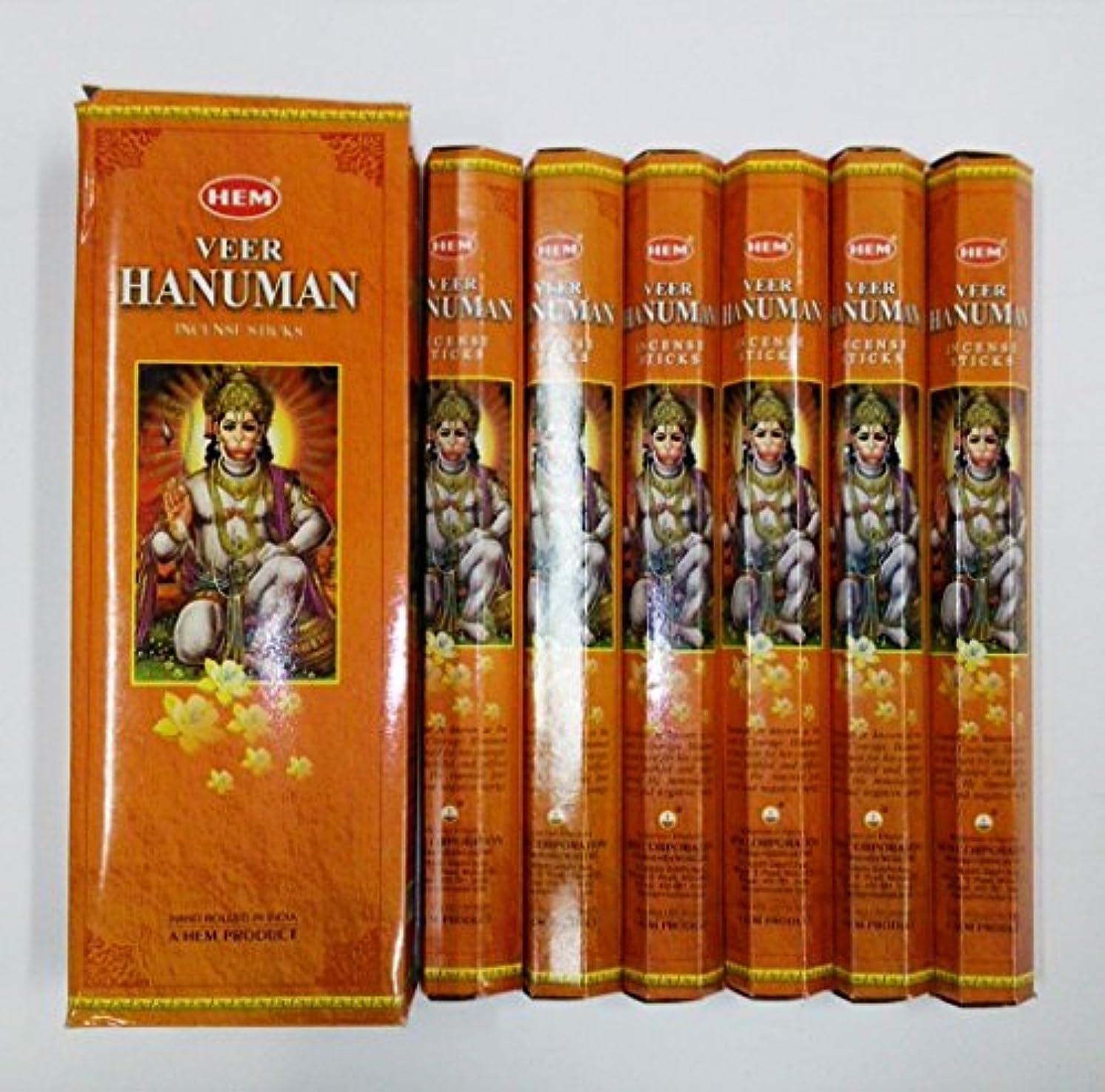 マーキング自発的テレックスHEM (ヘム) インセンス スティック へキサパック ハヌマーン ハヌマン香 6角(20本入)×6箱 [並行輸入品] Hanuman