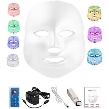 7色LED美顔マスク 家庭用LED美顔器 ニキビケア しわ対策 毛穴ケア シワ たるみを改善 殺菌 美白 エイジングケア 光エステ 日本語説明書付き コントローラ付き white
