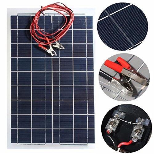 ソーラーパネル 30 w 12 v MOHOO 太陽光パネル 太陽光発電パネル ワニ口 クリップ 付き