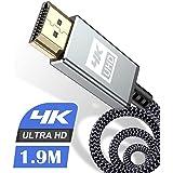 4K HDMI ケーブル 1.9m 4K 60Hz ハイスピードHDMI 2.0規格HDMI Cable 4k対応 3840p/2160p UHD 3D HDR 18Gbps 高速イーサネット ARC hdmi ケーブル - 4K対応 パソコンの画面