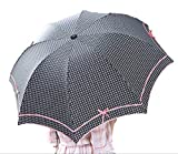 Youchan(ヨウチャン) 晴雨兼用 かさ リボン結び パイピング ケース 遮熱効果 UVカット 紫外線 日傘 携帯 雨具 通学 通勤 折りたたみ レディース