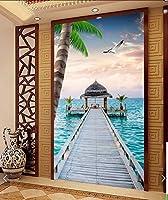 Weaeo 3D部屋の壁紙カスタム壁画不織の家の装飾3D海の風景の橋のポーチの絵3D壁の壁画の壁紙-120X100Cm