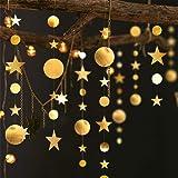 Decor365 Gold Twinkle Little Star Party Garlands Kit Metallic Glitter Matt Gross Big Paper Circle Garland Bunting Banner Birt
