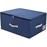 iwill CREATE PRO Nylon Washable Stacked Storage Box with Zip Lid, Folding Garment Storage Organizer Containers,Navy Blue