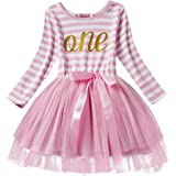 FYMNSI Baby Girls 1st/2nd/3rd Birthday Cake Smash Princess Long Sleeve Striped Dress