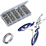 Greatfishing 200PCS High Strength Heavy Stainless Steel Split Ring Lure Tackle Connector with Fishing Pliers Fishing Accessor