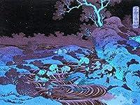 ArtVerse HOK120A1824A Japanese Fishermen Wood Block Print in Blue and Purple Removable Art Decal 18 x 24 [並行輸入品]