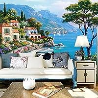 Sprooudbz ヨーロッパスタイルの 3D フレスコ画地中海油絵風景壁紙 430 cmX 300 cm