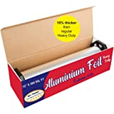 """Ultra-Thick Heavy Duty Household Aluminum Foil Roll (12"""" x 300 Square Foot Roll) with Sturdy Corrugated Cutter Box - Heavy Du"""