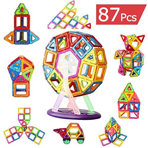 マグネット ブロック 磁気おもちゃ 知育玩具 子供プレゼント 磁石ブロック マグネット 立体パズル多彩 外しにくい 磁石付き積み木 87ピース カラフル磁性構築ブロックのおもちゃ FlyCreat磁気建設玩具 モデルDIY 想像力と創造力を育てる知育 玩具 空間認識能力 男女の子のおもちゃ お祝い入園プレゼント マグマジックブロック(車輪・支架セット付き)