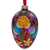 BestPysanky Colorful Flowers on Red Glass Egg Ornament