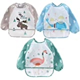 4G-Kitty Infant Toddler Baby Waterproof Bib Apron, Toddler Baby Sleeved Bibs Waterproof Feeding and Painting Art Smock with P