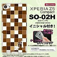 SO02H スマホケース Xperia Z5 Compact カバー エクスペリア Z5 コンパクト ソフトケース イニシャル スクエア 茶 nk-so02h-tp1021ini L
