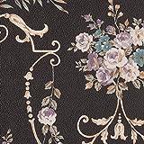 壁紙クロス 1m  リリカラ シック 花柄 ブラック 寝室・プライベートルーム LV-6363