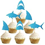 ALISSAR 24-Pack Glitter Shark Cupcake Toppers, Shark Fin Cupcake Toppers, Shark Themed Party Supplies Decorations Kids Baby S