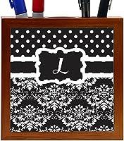 Rikki Knight Rikki Knight Initial L Black & White Damask Dots Design 5-Inch Tile Wooden Tile Pen Holder (RK-PH44466) [並行輸入品]