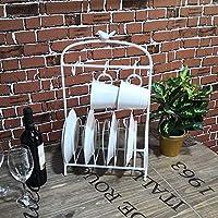 鳥かご型 テーブル ミール トレイ ホルダー ディスプレイ スタンド 8 プレート ホルダー 6 フック テーブルトップ マグ ティー カップ ハンガー ラック オーガナイザー 2 色 ホワイト