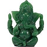 Lord Ganesh Statues - Dark Green Jade Ganesh Idol Figurine - Elephant God Buddha Sculpture for Home Car Decor