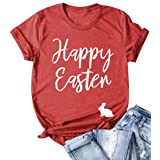 EGELEXY Happy Easter T Shirts Women Funny Bunny Letter Print Short Sleeve Casual Loose Tee Tops