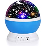 Luckkid Baby Night Light Moon Star Projector 360 Degree Rotation - 4 LED Bulbs 9 Light Color Changing with USB Cable, Unique