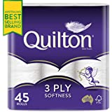 Quilton 3 Ply Toilet Tissue (180 Sheets per Roll, 11x10cm), Pack of 45