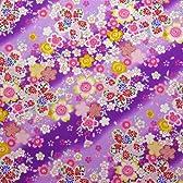 【定番和柄・和調プリント】金粉桜吹雪 4色あります 1m単位で切り売りいたします (紫)
