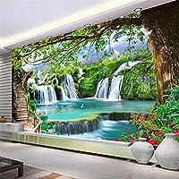 Hxcok カスタム壁紙壁画3Dグリーンツリー滝大壁画リビングルームのソファテレビの背景写真の壁紙自己粘着-400X280CM