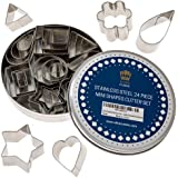 Pie Crust & Cookie Cutter Set - Mini Molds to Cut Out Pastry Dough Design - Tiny Decorative Metal Stamps Leaf, Heart, Square,