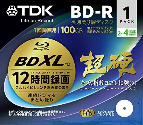 TDK 録画用ブルーレイディスク 超硬シリーズ BD-R XL 長時間録画 3層ディスク 100GB 2-4倍速 1枚 BRV100HCPWB1A