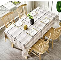 市松模様の縞模様のタッセルテーブルクロス/コットンリネンのテーブルクロス/カントリーホーム、台所カウンタートップの装飾に適して (色 : A, Size : 110x110cm)