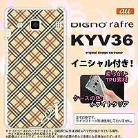 KYV36 スマホケース DIGNO rafre カバー ディグノ ラフレ ソフトケース イニシャル チェックA ベージュ×赤 nk-kyv36-tp445ini N