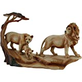 African Lion Family Carved Wood Look Resin Statue