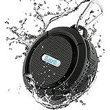 Bluetooth スピーカー 防水(IP65等級)/防塵/耐衝撃 ノイズクッションマイク内蔵 TFカード対応 吸盤式 アウトドア(ブラック)