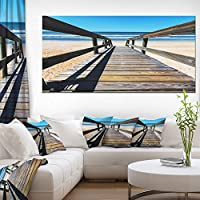 """デザインアートロングボードウォークにブルーseashorelarge Seashoreキャンバスアート 60x28"""" PT12755-60-28"""