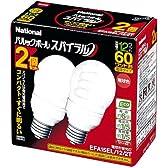 パナソニック パルックボールスパイラル 電球60型タイプA15形 2個入 電球色 EFA15EL/12/2T