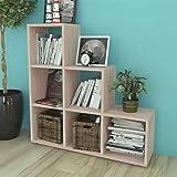 Daonanba Wooden Bookcase Storage Display Shelf Sturdy Striking Storage Shelf 107 cm Oak