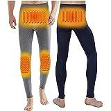 電熱ロングパンツ メンズ ヒートインナーパンツ 両面着用 4つ発熱部 USB給電 炭素繊維 防寒