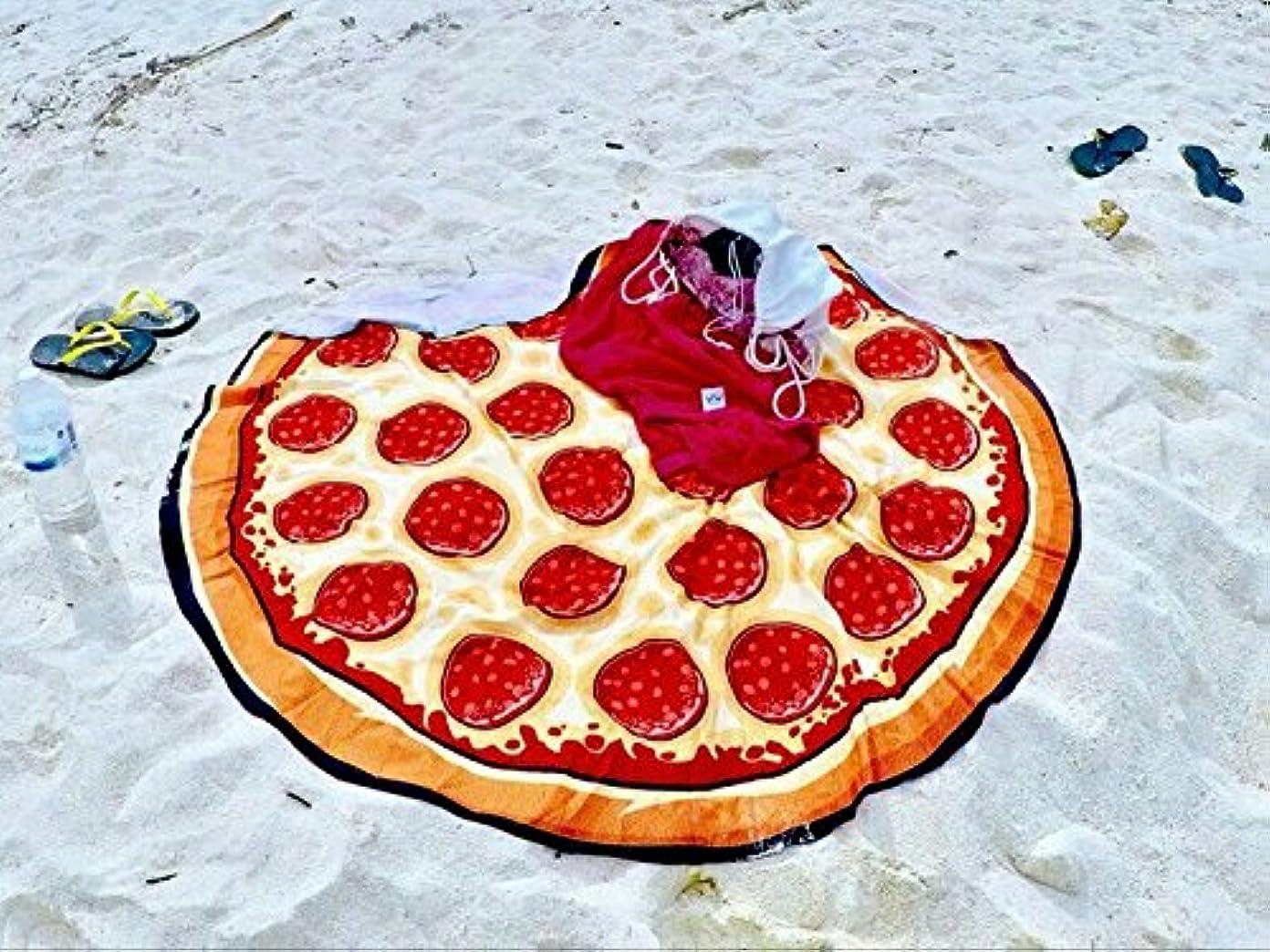 気性効果的にゆでる超可愛い ピザ 温泉スカーフ 水泳スカーフ おしゃれラウンドビーチスカーフ ビーチレジャーシートピクニック(pizza)