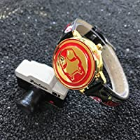 BRANDSALE Ironman Watch for Boys and Girls | Soft Leather Strap Quartz Wrist Watches for Kids | Marvel Iron Man Wrist Watch | Waterproof Kids Watch
