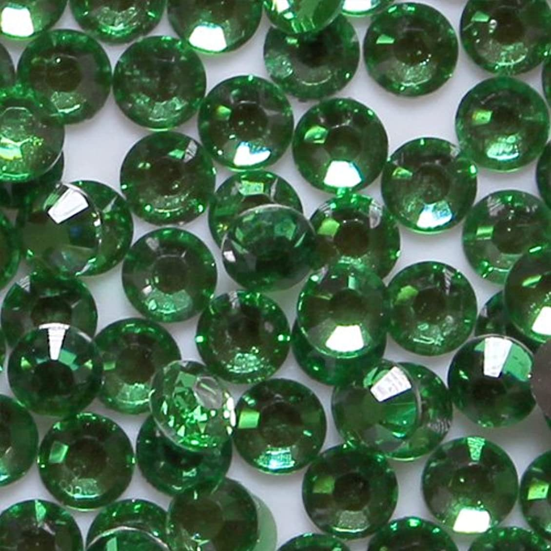 統合する収益先のことを考える高品質 アクリルストーン ラインストーン ラウンドフラット 約1000粒入り 4mm グリーントルマリン